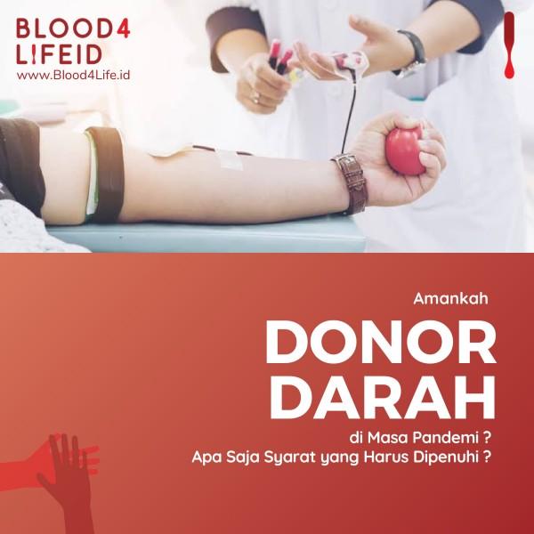 Amankah Donor Darah di Masa Pandemi? Apa Saja Syarat yang Harus Dipenuhi?