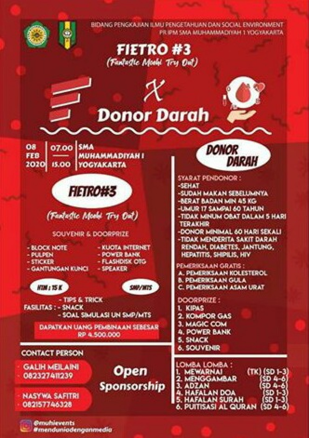 Donor Darah SMA Muhammadiyah 1 Yogyakarta