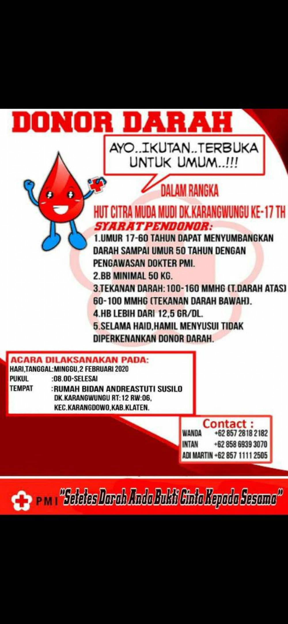 Donor Darah Karangdowo, Klaten