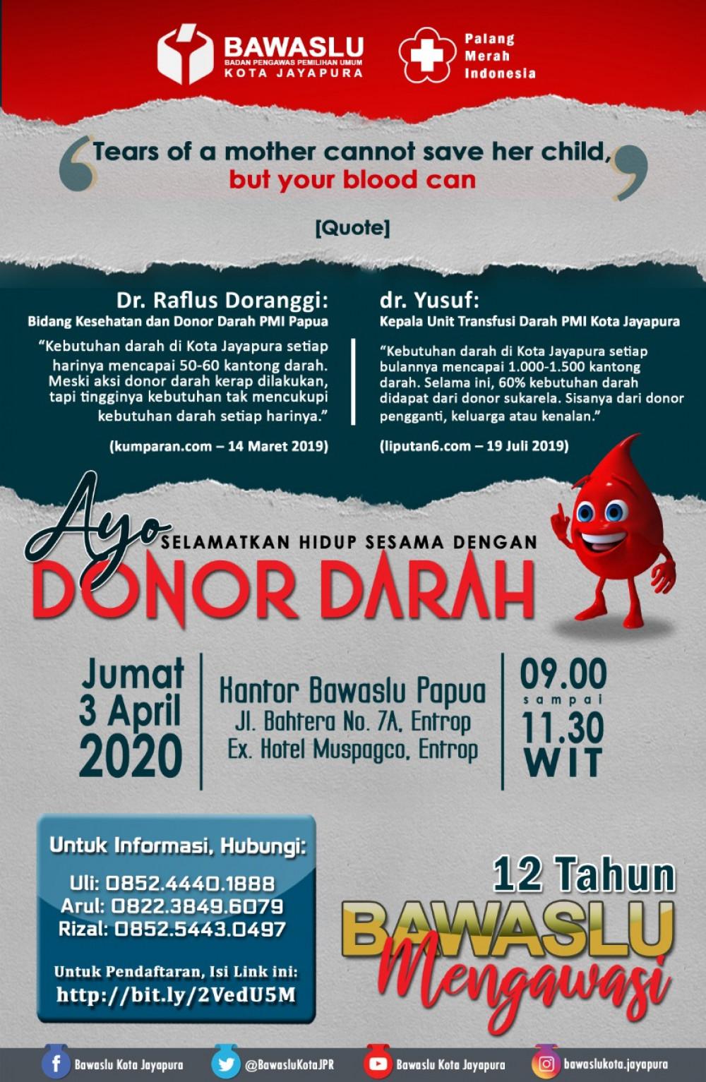 Donor Darah Bawaslu Kota Jayapura