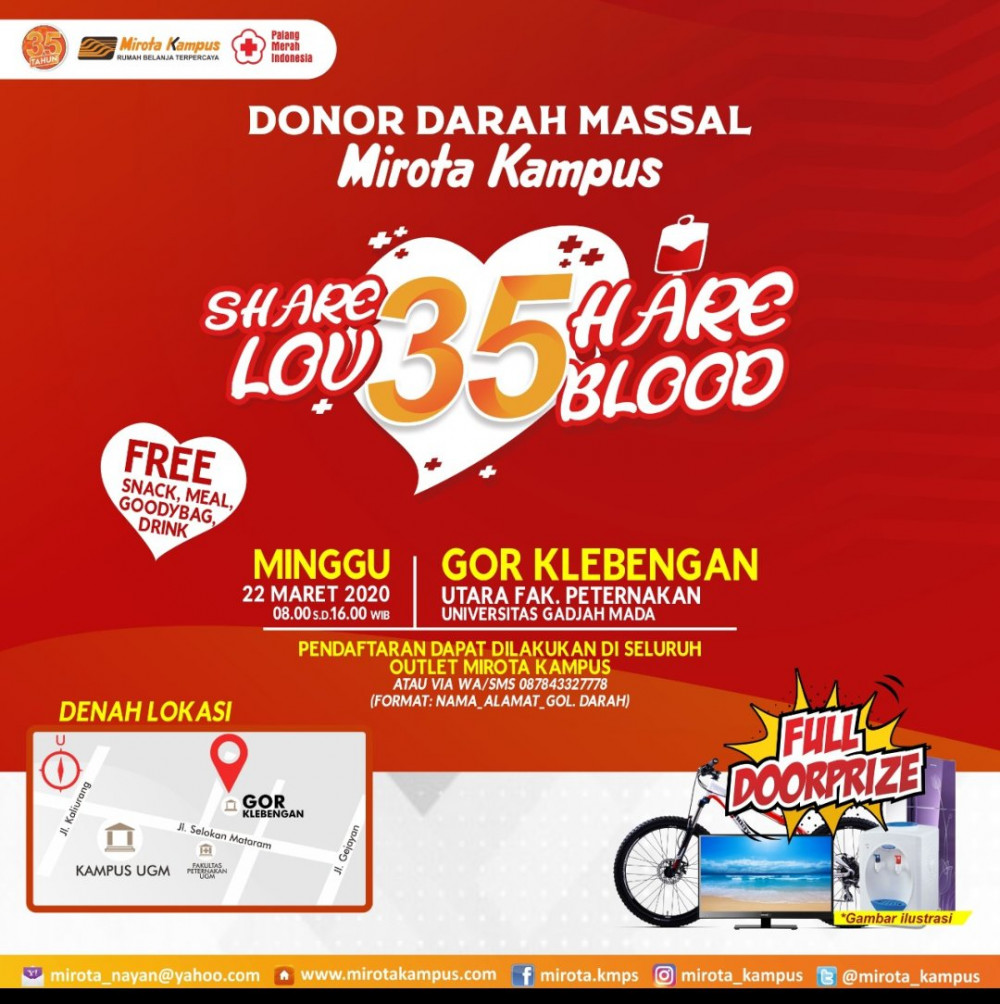 Share Love Share Blood : Donor Darah Massal Mirota Kampus