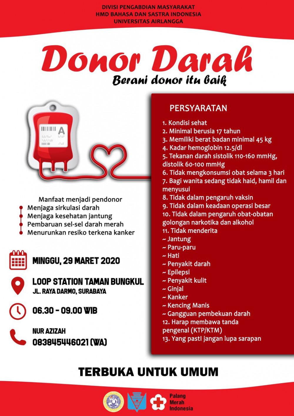 Donor Darah Divisi Pengabdian Masyarakat HMD Bahasa dan Sastra Indonesia Universitas Airlangga