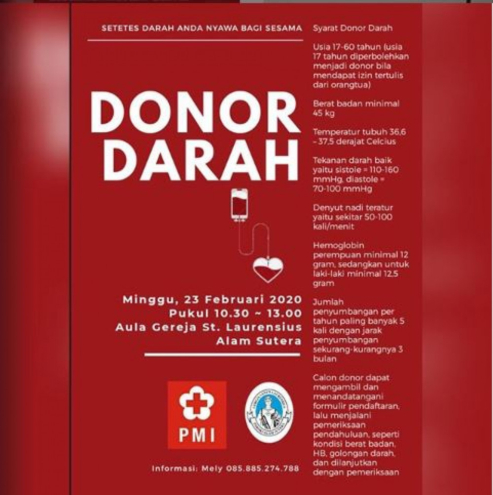 Donor Darah St Laurentius Alam Sutera