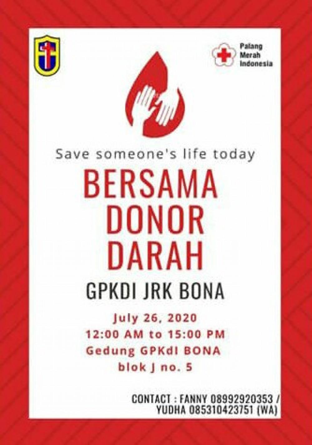 Bersama Donor Darah Di GPKDI JRK Bona